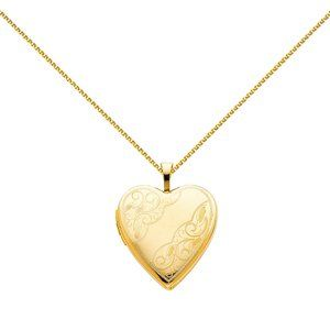 14K Yellow Engraved Locket with 1.2mm Wheat Chain